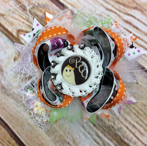 Over the Top Boo Halloween Stacked Boutique Hair Bow, Halloween Hair Bow,  Hair Bow, Hair Ribbons, Hair Accessories