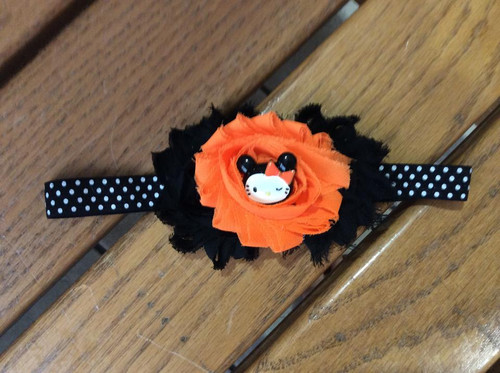 Halloween Kitty Black and Orange Fitted Headband, Halloween Headband, Girl's Headband, Girl's Hair Bow, Halloween, Halloween Hair Bow