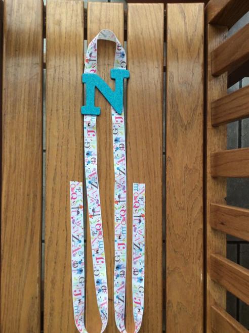 Turquoise Initial N  Alphabet Hair Bow Holder, Hair Bow Holder, Ribbon Holder, Accessory Holder, Girl's Decor, Alphabet Decor
