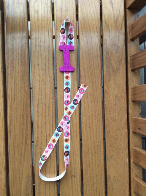 Fuschia Pink Initial I Cupcake Bow Holder, Hair  Bow Holder, Ribbon Holder, Accessory Holder, Girl's Decor, Cupcake