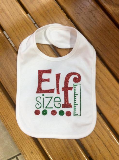 Girl's Elf Size Christmas Bib, Baby Bib, Girl's Baby Bib, Christmas Bib, Elf Size Bib