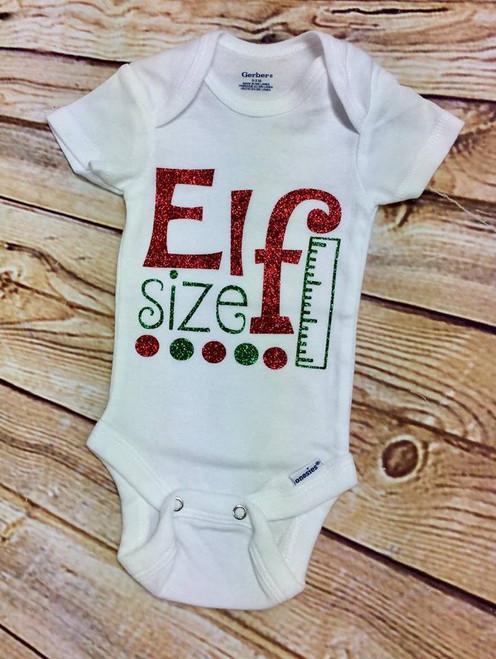 Elf Size Christmas Onesie, Girl's Christmas Onesie, Elf Size Onesie, Girl's Onesie, Girl's Body Suit, Christmas Shirt