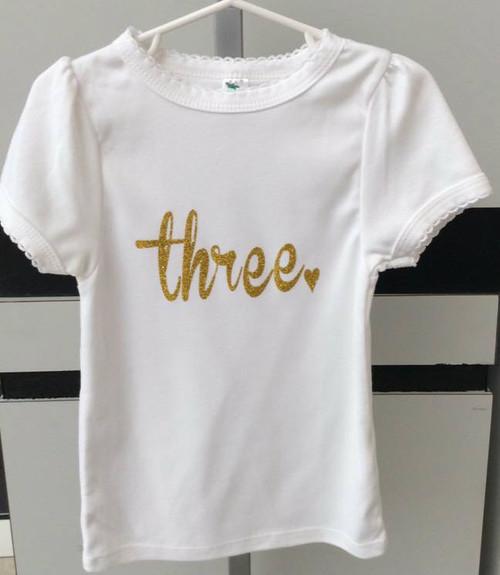 """Girl's """"three"""" shirt, Girl's Third Birthday Shirt, Girl's Birthday Shirt, Third Birthday Outfit, Third Birthday, Girl's Shirts, Toddler Birthday Shirts"""