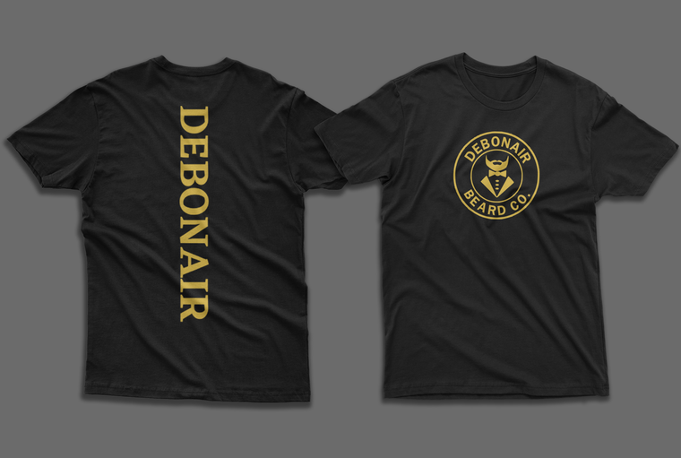 Shirts front & back of black & gold spinal tee
