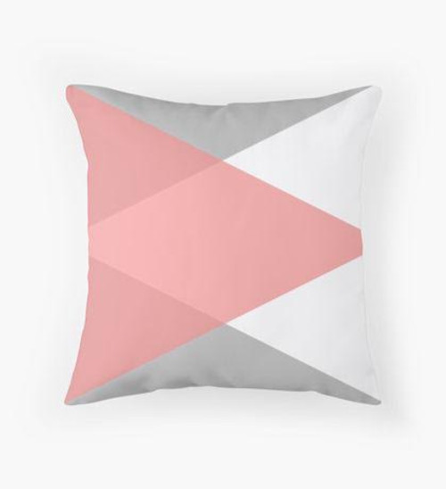 Pink white and grey triangles Pillow