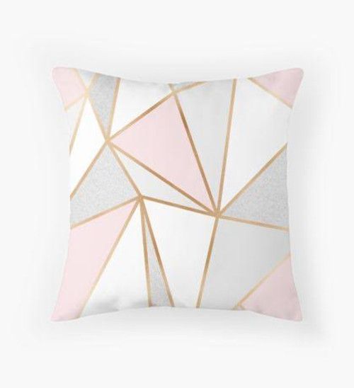 Pink and grey triangles Pillow