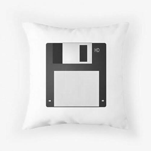 Black diskette Pillow
