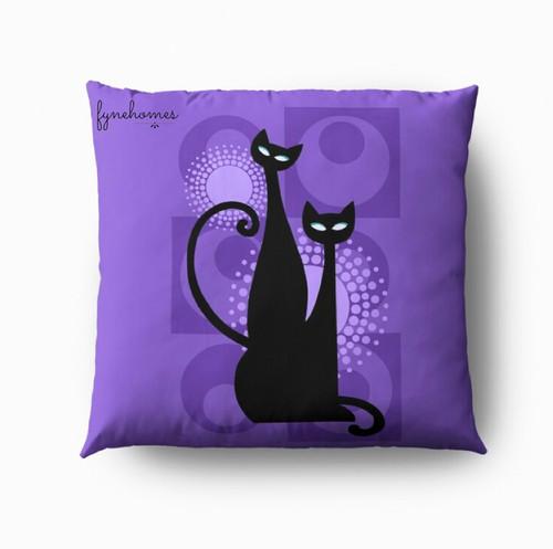 Purple cat pillow