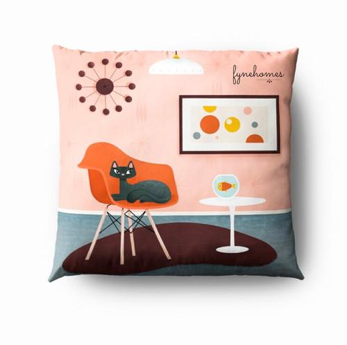 Peach cat pillow