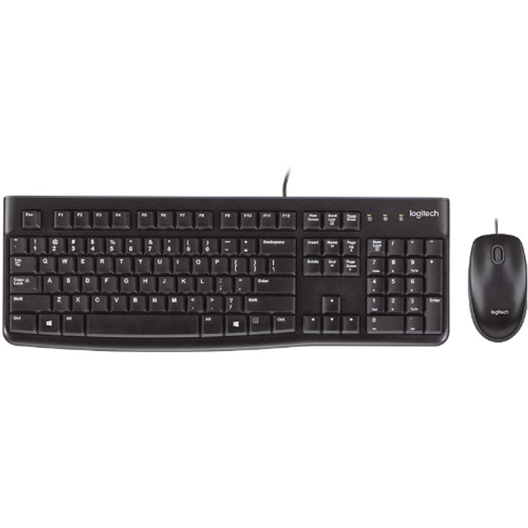 Logitech MK120 Keyboard & Mouse Combo Quiet typing and Spill resistant High-definitiion optpical tracking Thin profile 3yr wty