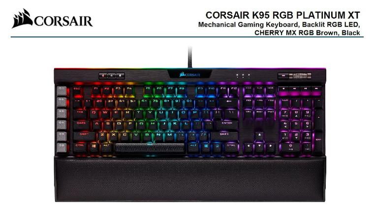 Corsair K95 RGB PLATINUM XT, Cherry MX Brown, Dynamic Per-Key RGB Back