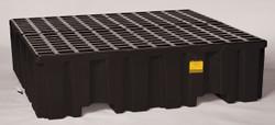 4 Drum Containment Pallet - Black w/Drain