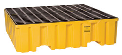 4 Drum Containment Pallet - Yellow no Drain