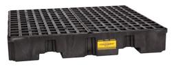 4 Drum Low Profile Containment Pallet - Black w/ Drain