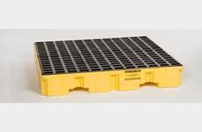 EAGLE 4 Drum Low Profile Containment Pallet - Yellow no Drain