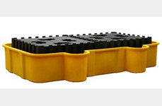 EAGLE Double All-Poly IBC Containment Unit w/Poly Platforms - Black no Drain