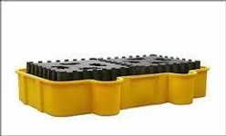 EAGLE Double All-Poly IBC Containment Unit w/Poly Platforms - Yellow w/Drain