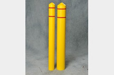 "EAGLE 6"" Bumper Post Sleeve-Smooth Sided-Yellow w/3/4"" Red Reflective Stripes"