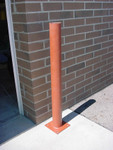 """Innoplast 4"""" x 48"""" Surface Mount Steel Bollard, 8"""" x 8"""" Plate with 4 holes, Primed"""