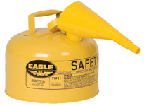 EAGLE Type I Safety Can, 2.5 Gal. Yellow with F-15 Funnel, UI-25-FSY