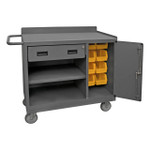 DURHAM 2212A-BLP-8B-LU-95, Mobile Bench Cabinet, 8 yellow bins