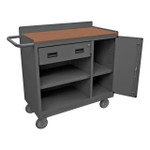 DURHAM 2212A-TH-LU-95, Mobile Bench Cabinet, hard board top