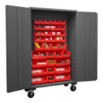 DURHAM 2502M-BLP-42-1795, Mobile Cabinet, 16 gauge, 42 red bins