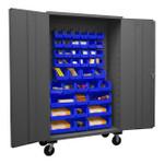 DURHAM 2502M-BLP-42-5295, Mobile Cabinet, 16 gauge, 42 blue bins