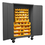 DURHAM 2502M-BLP-42-95, Mobile Cabinet, 16 gauge, 42 yellow bins