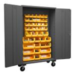 DURHAM 2502M-BLP-42-95, Mobile Cabinet, 16 gauge, 42 yellow bins