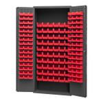 DURHAM 2603-156B-1795, Bin Cabinet, 16 gauge, 156 red bins