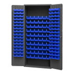 DURHAM 2603-156B-5295, Bin Cabinet, 16 gauge, 156 blue bins