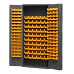 DURHAM 2603-156B-95, Bin Cabinet, 16 gauge, 156 yellow bins