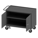 DURHAM 3412-FL-95, Mobile Bench Cabinet, 2 door, steel top