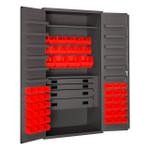 DURHAM 3501524RDR-1795, Cabinet, 13 shelf, 52 red bins