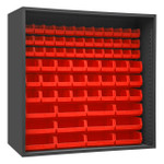 DURHAM 5023-72-1795, Enclosed Shelving, 24X72, 72 red bins