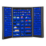 DURHAM DC48-176-5295, Bin Cabinet, 14 gauge, 176 blue bins