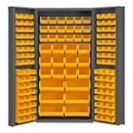 DURHAM DC-BDLP-132-95, Bin Cabinet, 132 yellow bins, deep door