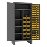 DURHAM HDJC243678-60-4S95, Cabinet, 24X36, 4 shelf, 60 yellow bins