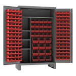 DURHAM HDJC244878-156-4S1795, Cabinet, 4 shelves, 156 red bins