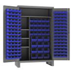 DURHAM HDJC244878-156-4S5295, Cabinet, 4 shelves, 156 blue bins