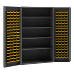 DURHAM SJC-DLP-144-4S-95, Cabinet, 4 shelf, 144 yellow bin, deep