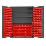 DURHAM SSC-185-3S-NL-1795, Cabinet, 3 shelf, 185 red bin no legs