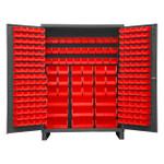 DURHAM SSC-227-1795, Bin Cabinet, 227 red bins with legs