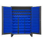 DURHAM SSC-227-5295, Bin Cabinet, 227 blue bins with legs