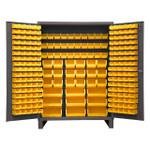 DURHAM SSC-227-95, Bin Cabinet, 227 yellow bins with legs