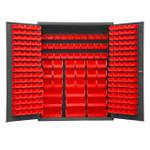 DURHAM SSC-227-NL-1795, Bin Cabinet, 227 red bins, no legs