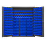 DURHAM SSC-227-NL-5295, Bin Cabinet, 227 blue bins, no legs