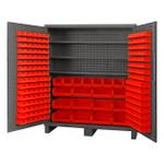 DURHAM SSC-722484-BDLP-2123S1795, Cabinet, 3 shelves, 212 red bins