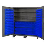 DURHAM SSC-722484-BDLP-2123S5295, Cabinet, 3 shelves, 212 blue bins